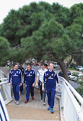 HAIFA, ISRAEL - Saturday, March 28, 2015: Wales' staff head of fitness and science Ryland Morgans, goalkeeping coach Martyn Margetson and Medical Officer Doctor Jon Houghton with Gareth Bale on a team walk ahead of the UEFA Euro 2016 qualifying Group B match against Israel. (Pic by David Rawcliffe/Propaganda)