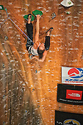 Lauren Lee on her way to a second place finish in the 2010 Sport Climbing Series National Championship at Momentum Climbing Gym in Sandy Utah.