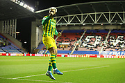 West Bromwich Albion forward Charlie Austin (15) celebrates his goal 1-1  during the EFL Sky Bet Championship match between Wigan Athletic and West Bromwich Albion at the DW Stadium, Wigan, England on 11 December 2019.