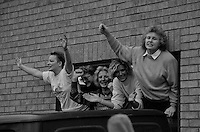 Five women who have occupied office buildings at Markham Main Colliery, Armthorpe as a protest against proposed pit closures, greet supporters who broke through British Coal's security to meet them. 13 December 1992