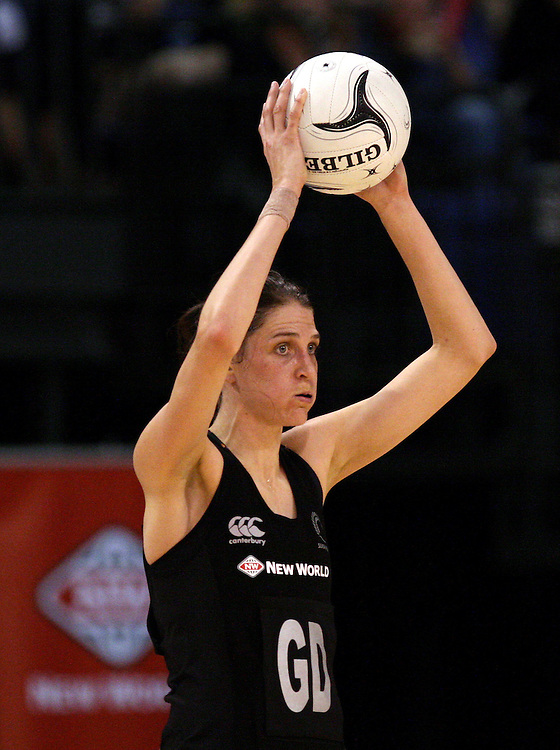 New Zealand's Anna Harrison looks to pass the ball against Australia in the New World netball series test match, CBS Canterbury Arena, Christchurch, New Zealand, Sunday, September 23, 2012. Credit:SNPA / Dianne Manson.