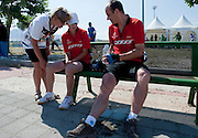 Trainer and athletes Agnieszka Sobczyk & Jacek Cieslik both of SO Poland while cycling competition during 2011 Special Olympics World Summer Games Athens on June 27, 2011..The idea of Special Olympics is that, with appropriate motivation and guidance, each person with intellectual disabilities can train, enjoy and benefit from participation in individual and team competitions...Greece, Athens, June 27, 2011...Picture also available in RAW (NEF) or TIFF format on special request...For editorial use only. Any commercial or promotional use requires permission...Mandatory credit: Photo by © Adam Nurkiewicz / Mediasport