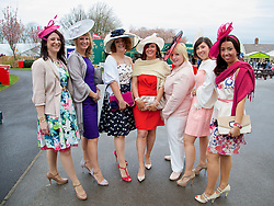 LIVERPOOL, ENGLAND - Friday, April 4, 2014: Ladies from Mansfield during Ladies' Day on Day Two of the Aintree Grand National Festival at Aintree Racecourse. (Pic by David Rawcliffe/Propaganda)