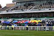 Stands are sparsley populated with punters stating inside because of the foul weather for the 3.25pm The Betway Aintree Hurdle (Grade 1) 2m 4fduring the Grand National Festival Week at Aintree, Liverpool, United Kingdom on 4 April 2019.