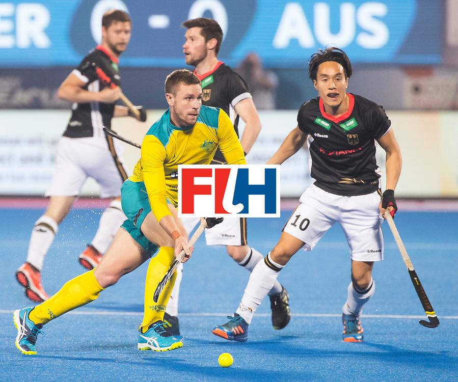 BHUBANESWAR - The Odisha Men's Hockey World League Final . Match ID 05 . Germany  v Australia . Tom Wickham (Aus) with Dan Nguyen (Ger) . WORLDSPORTPICS COPYRIGHT  KOEN SUYK