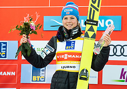 Winner Maren Lundby of Norway celebrates during Trophy ceremony after the 2nd Round at Day 1 of World Cup Ski Jumping Ladies Ljubno 2019, on February 8, 2019 in Ljubno ob Savinji, Slovenia. Photo by Matic Ritonja / Sportida