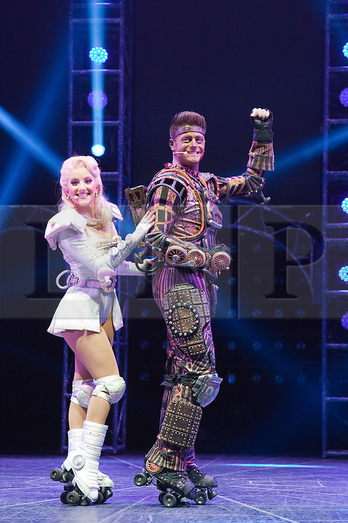 "© Licensed to London News Pictures. 11/05/2012. London, England. Pictured: Amanda Coutts as Pearl and Kristofer Harding as Rusty. Andrew Lloyd Webber's rock musical ""Starlight Express"" opens at the New Wimbledon Theatre with a new cast before embarking on a UK tour. Choreography by Arlene Phillips. With Kristofer Harding as Rusty, Mykal Rand as Electra, Lothair Eaton as Poppa, Amanda Coutts as Pearl, Ruthie Stephens as Dinah, Kelsey Cobban as Duffy, Camilla Hardy as Buffy and Jamie Capewell as Greaseball. Photo credit: Bettina Strenske/LNP"
