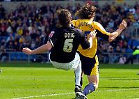 Photo: Alan Crowhurst.<br />Oxford United v Northampton Town. Coca Cola League 2. 22/04/2006. Chris Doig scores the opener for Northampton.