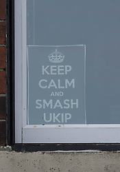 © Licensed to London News Pictures. <br /> 10/04/2015. <br /> <br /> Saltburn, United Kingdom<br /> <br /> An anti-UKIP sign is displayed in a window of a house in Saltburn by the Sea in Cleveland ahead of the General Election on May 7.<br /> <br /> Photo credit : Ian Forsyth/LNP