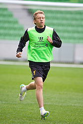 MELBOURNE, AUSTRALIA - Monday, July 22, 2013: Liverpool's Lucas Leiva during a training session at Aami Park ahead of their preseason friendly against Melbourne Victory. (Pic by David Rawcliffe/Propaganda)