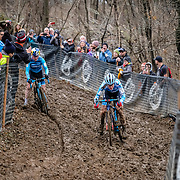 Sunday, Dec. 16, 2018 — The Elite women's national championship race was close, but only for the first lap. Katie Compton (right) edges out Ellen Noble on a twisting downhill section at the 2018 USA Cycling Cyclocross National Championships 18.2 in Louisville, KY. #CXNATS #photopresse.photoshelter.com #CYCLOCROSS #CX #FUJIXPRO2 #FUJIFILM #ELLENNOBLE #ELLENLIKESBIKES #KATIEFNCOMPTON
