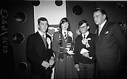 04/01/1967.01/04/1967.4th January 1967 .The third annual Aer Lingus Young Scientist Exhibition at the RDS..The Minister for Education Donagh O'Malley presents the prizes at the Young Scientist Exhibition. Photographed here are (L-R) Patrick Folen of Colaiste Iognaid Gaillimh (runner up), Bridget Dwyer, F.C.J Convnet, Bunclody, Co. Wexford (2nd runner up) and Cormac Hayes from St Vincents CBS, Glasnevin (the Young Scientist of the Year) ..