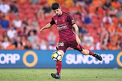 January 8, 2018 - Brisbane, QUEENSLAND, AUSTRALIA - Mitchell Oxborrow of the Roar (16) passes the ball during the round fifteen Hyundai A-League match between the Brisbane Roar and Sydney FC at Suncorp Stadium on Monday, January 8, 2018 in Brisbane, Australia. (Credit Image: © Albert Perez via ZUMA Wire)