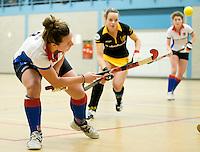 UTRECHT - Hoofdklasse Zaalhockey: Floortje Verheul van SCHC tijdens de wedstrijd tussen de vrouwen van Den Bosch en SCHC.  FOTO KOEN SUYK