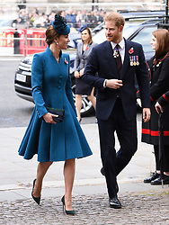 The Duchess of Cambridge (left) and Duke of Sussex attend the Anzac Day Service of Commemoration and Thanksgiving at Westminster Abbey, London. Photo credit should read: Doug Peters/EMPICS