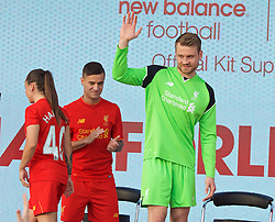 LIVERPOOL, ENGLAND - Monday, May 9, 2016: Liverpool's goalkeeper Simon Mignolet at the launch of the New Balance 2016/17 Liverpool FC kit at a live event in front of supporters at the Royal Liver Building on Liverpool's historic World Heritage waterfront. (Pic by David Rawcliffe/Propaganda)