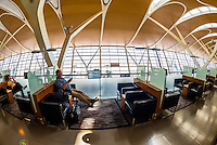 Business class lounge, Shanghai Pudong International Airport, Shanghai, China.