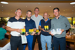 Stuart Naylor joins team Maple's Muppets as Bristol Rovers Manager Darrell Clarke presents their 3rd place prize after the annual Bristol Rovers Golf Day - Rogan Thomson/JMP - 10/10/2016 - GOLF - Farrington Park - Bristol, England - Bristol Rovers Golf Day.