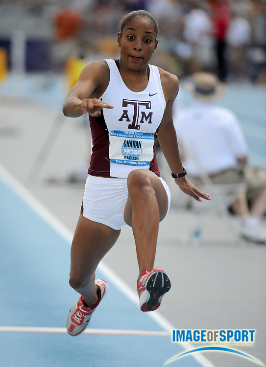 Jun 14, 2008; Des Moines, IA; Ashika Charan of Texas A&M was fifth in the women's triple jump in a wind-aided 44-3 1/2 (13.50m) in the NCAA Track & Field Championships at Drake Stadium.