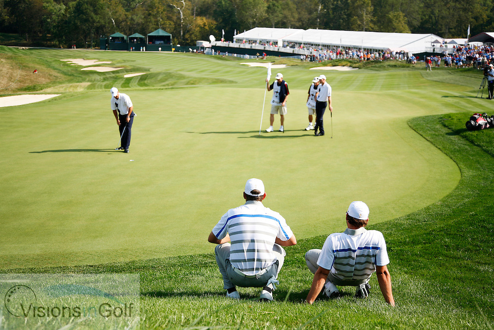 Sergio Garcia and Lee Westtwood watch Jim Furyk and Kenny Perry on the 9th during the morning foursomes on the first day at the 37th Ryder Cup Matches, 2008, Valhalla GC, Louisville, Kentucky.<br /> Picture Credit: Mark Newcombe / visionsingolf.com