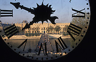 France. Paris. 6th district. Elevated view. Louvre and Seine River Seen Through Clock Institut watch