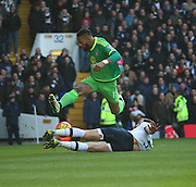 Tottenham Hotspur defender Jan Vertonghen stopping a break from Sunderland's Midfielder Jeremain Lens during the Barclays Premier League match between Tottenham Hotspur and Sunderland at White Hart Lane, London, England on 16 January 2016. Photo by Matthew Redman.