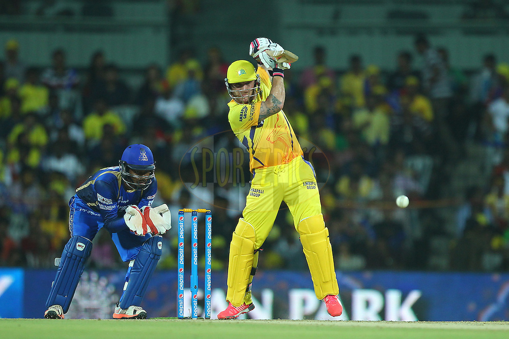 Brendon McCullum of the Chennai Superkings  during match 47 of the Pepsi IPL 2015 (Indian Premier League) between The Chennai Superkings and The Rajasthan Royals held at the M. A. Chidambaram Stadium, Chennai Stadium in Chennai, India on the 10th May 2015.<br /> <br /> Photo by:  Ron Gaunt / SPORTZPICS / IPL