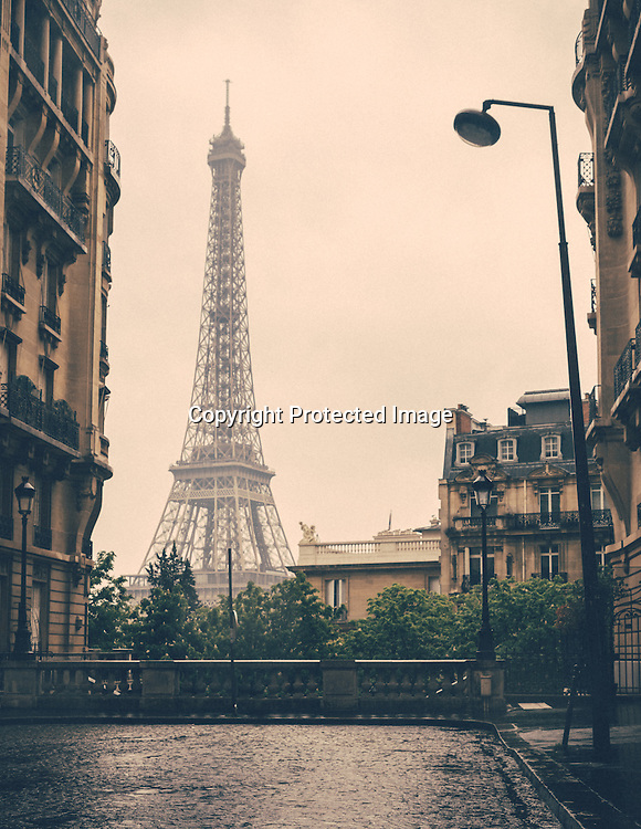 Streets of Paris with Eiffel Tower in background