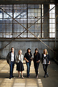Interior designers Eche Martinez, (l-r) Brittany Haines, Jemy Massie, Emily Ellis and Lindsay Chambers pose for a portrait at Pier 70 on June 15, 2015 in San Francisco, Calif.