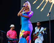 Ms. Kim of the band Ms. Kim and Scooby performs during the Summer Spirit Festival 2018 at Merriweather Post Pavilion in Columbia, MD on Sunday, August 5, 2018.