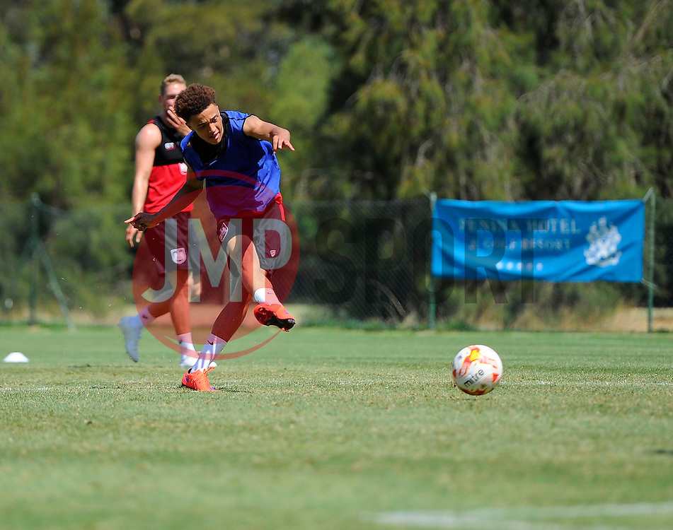 Ash Harper of Bristol City Shoots  - Photo mandatory by-line: Joe Meredith/JMP - Mobile: 07966 386802 - 17/07/2015 - SPORT - Football - Albufeira -  - Pre-Season Training