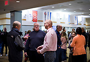 Congregants gather after service at Door Creek Church in Cottage Grove, Wisconsin, Sunday, Feb. 4, 2018.