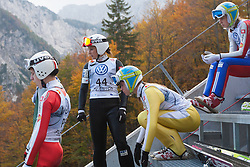 Slovenian women ski jumpers, Eva Logar, Ursa Bogataj and Anja Tepes during Slovenian summer national championship and opening of the reconstructed Bloudek's hill in Planica on October 14, 2012 in Planica, Ratece, Slovenia. (Photo by Grega Valancic / Sportida)