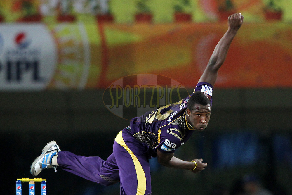 Andre Russell of the Kolkata Knight Riders during match 21 of the Pepsi Indian Premier League Season 2014 between the Chennai Superkings and the Kolkata Knight Riders  held at the JSCA International Cricket Stadium, Ranch, India on the 2nd May  2014<br /> <br /> Photo by Deepak Malik / IPL / SPORTZPICS<br /> <br /> <br /> <br /> Image use subject to terms and conditions which can be found here:  http://sportzpics.photoshelter.com/gallery/Pepsi-IPL-Image-terms-and-conditions/G00004VW1IVJ.gB0/C0000TScjhBM6ikg