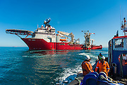 Tugboat leaving the Boa Sub C Multi purpose Offshore Vessel