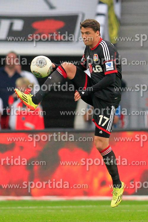 26.04.2014, BayArena, Leverkusen, GER, 1. FBL, Bayer 04 Leverkusen vs Borussia Dortmund, 32. Runde, im Bild Sebastian Boenisch (Bayer 04 Leverkusen #17) // during the German Bundesliga 32th round match between Bayer 04 Leverkusen and Borussia Dortmund at the BayArena in Leverkusen, Germany on 2014/04/26. EXPA Pictures &copy; 2014, PhotoCredit: EXPA/ Eibner-Pressefoto/ Schueler<br /> <br /> *****ATTENTION - OUT of GER*****