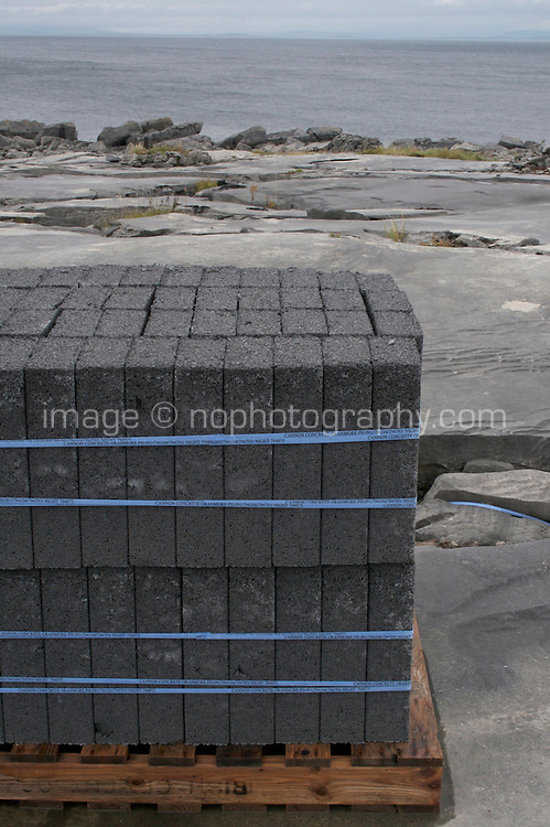 Building materials stacked up on a palette on Inis Oirr the Aran Islands Galway Ireland