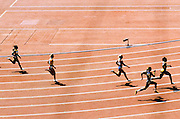 Olympic Games Athletics Day 11<br /> Women's 200m round 1 Heat 6 in the National Olympic Stadium<br /> In the olympic Bird's nest, the women's 200m race round 1, Heat 6 of the olympic games of Beijing, morning of the August 19 2008. In the foreground, number 8 Dos Santos Evelyn (Brazil), n&deg;7 Jones Ferrette-Laverne (Virgin Isl), n&deg;6 Pygyda Nataliia (Ukraine), n&deg;5 Jeschke Martha (Poland), n&deg;3 George Allison (Grenada). Nataliia Pygyda was the fastest qualifier, winning her heat and the round in 22.91 sec.<br /> High Resolution available