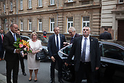 Arrival of the Presidential Couple to the regional authority of the Pilsen Region.  Miloš Zeman (born 28 September 1944) is the third and current President of the Czech Republic (his wife Ivana Zemanová on the left), in office since 8 March 2013.  He announced his candidacy for the 2018 presidential elections which will be held in the Czech Republic on 12–13 January.