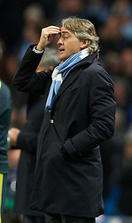 21.11.2012, Etihad Stadium, Manchester, ENG, UEFA Champions League, Manchester City vs Real Madrid, Gruppe D, im Bild Manchester City's manager Roberto Mancini during UEFA Champions League group D match between Manchester City and Real Madrid CF at the Etihad Stadium, Manchester, Great Britain on 2012/11/21. EXPA Pictures © 2012, PhotoCredit: EXPA/ Propagandaphoto/ David Rawcliffe..***** ATTENTION - OUT OF ENG, GBR, UK *****