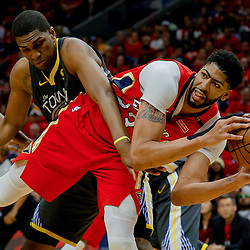 May 6, 2018; New Orleans, LA, USA; New Orleans Pelicans forward Anthony Davis (23) steals a pass intended for Golden State Warriors forward Kevon Looney (5) during the second quarter in game four of the second round of the 2018 NBA Playoffs at the Smoothie King Center. Mandatory Credit: Derick E. Hingle-USA TODAY Sports