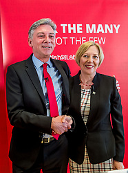 Pictured: Richard Leonard congratulates his new deputy Lesley Laird.<br /> <br /> Scottish Labour leader Richard Leonard announced his new deputy leader, Fife MP Lesley Laird, at a speech in Glasgow.<br /> <br /> © Dave Johnston/ EEm