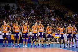 Dejan Vincic (9) of ACH, Marcelo Barreto (4) of ACH, Oliver Venno (8) of ACH, Alen Sket (5) of ACH, Matej Vidic (16) of ACH, Veljko Petkovic (10) of ACH, Ramon Gato (12) of ACH, Alen Pajenk (2) of ACH and Matevz Kamnik (7) of ACH at volleyball match of CEV Indesit Champions League Men 2009/2010 between ACH Volley Bled (SLO) and Istanbul Buyuksehir BLD (TUR), on December 9, 2009 in Arena Tivoli, Ljubljana, Slovenia. (Photo by Vid Ponikvar / Sportida)