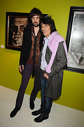 Left to right, SERGIO PIZZORNO of rock band Kasbian and RONNIE WOOD at an exhibition of artist Paul Karslake's work entitled Ideas & Idols, held at Scream, 34 Bruton Street, London W1 on 21st February 2008.<br />