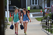 Hayden (l) and Kira Carr arrive at Wellesley Middle School on the first day of class, Wednesday, Sept. 2, 2015.<br /> Wicked Local staff photo / Kate Flock