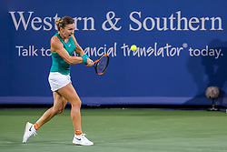 August 15, 2018 - Cincinnati, OH, U.S. - CINCINNATI, OH - AUGUST 15: Simona Halep (ROU) hits a two-handed backhand shot  during the Western & Southern Open at the Lindner Family Tennis Center in Mason, Ohio on August 15, 2018. (Photo by Adam Lacy/Icon Sportswire) (Credit Image: © Adam Lacy/Icon SMI via ZUMA Press)
