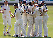 Jack Brooks (Yorkshire CCC) celebrates with team mates after taking the wicket of Jamie Harrison (Durham County Cricket Club) during the LV County Championship Div 1 match between Durham County Cricket Club and Yorkshire County Cricket Club at the Emirates Durham ICG Ground, Chester-le-Street, United Kingdom on 1 July 2015. Photo by George Ledger.