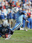 NASHVILLE, TN - DECEMBER 3:  Place kicker Rob Bironas #2 of the Tennessee Titans kicks a 25 yard field goal to give the Titans their first points against the Indianapolis Colts at LP Field on December 3, 2006 in Nashville, Tennessee. The Titans defeated the Colts 20-17. ©Paul Anthony Spinelli *** Local Caption *** Rob Bironas