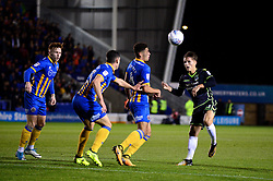 Tom Nichols of Bristol Rovers takes a shot which is deflected - Mandatory by-line: Dougie Allward/JMP - 17/10/2017 - FOOTBALL - Greenhous Meadow - Shrewsbury, England - Shrewsbury Town v Bristol Rovers - Sky Bet League One