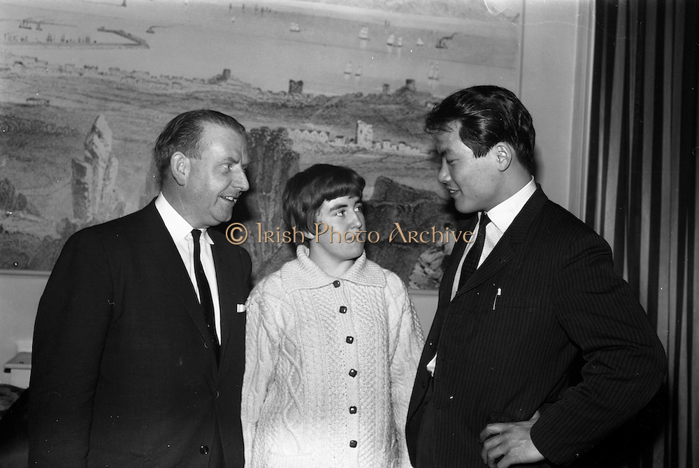 4/3/1965<br /> 3/4/1965<br /> 4 March 1965<br /> <br /> Mr. Frank Cassidy Sales Administration Manager with Beamish and Crawford, Miss Bernie Berrigan the only woman Black Beld in Ireland and Mr. Tadayosi Miyatani the Jounior West Japan Champion